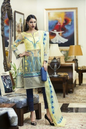 AmnaAqeel Formal Collection yellow