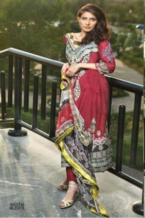 ayeshazara by alzohaib textile mehroon