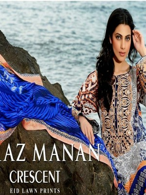 Faraz Manan Lawn Collection-D blue-creacent
