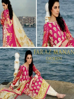 Faraz Manan Lawn Collection-D pink-creacent