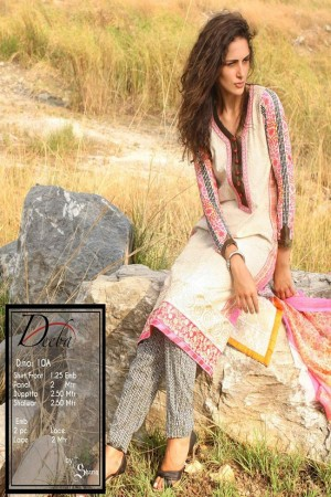 Deeba Shariq Embroidered Lawn Collection'15-D-10A