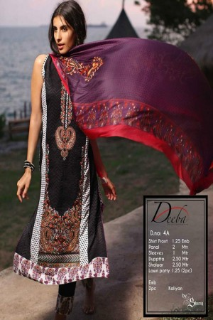 Deeba Shariq Embroidered Lawn Collection'15-D-4A