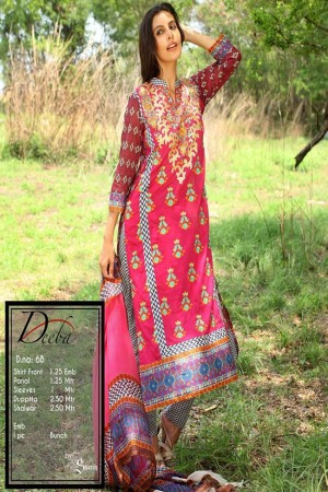 Deeba Shariq Embroidered Lawn Collection'15-D-6B