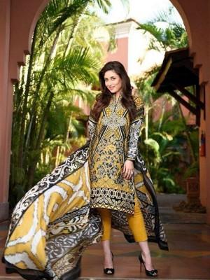 Faraz Manan Lawn Collection-D mustard-creacent